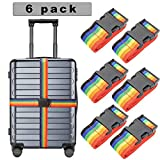 6er Pack koffergurt Gepäckband koffergurt blau kofferband bunt Gepäckgurt Einstellbare Gepäckgurt Kreuz (Schön)