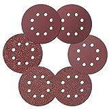 Ealicere 30 Pcs Klett Schleifscheiben, 125mm Schleifpapier Klett für Exzenterschleifer(Körnung 40/60/80/120/180/240, 8 Löcher)