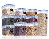 Vtopmart Vorratsdosen Set,Müsli Schüttdose & Frischhaltedosen, BPA frei Kunststoff Vorratsdosen luftdicht, Satz mit 10 + 24 Etiketten für Getreide, Mehl, Zucker usw.
