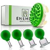 ENEMEL® Schröpfgläser aus Echtglas [4 STÜCK] inkl. Cellulite-Bürste - Hochwertiges Schröpfglas Set