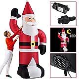Juskys XXL Weihnachtsmann aufblasbar | 240 cm groß | LED beleuchtet | Befestigungsmaterial | Weihnachtsdeko Nikolaus Santa Claus Weihnachten Deko