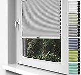 Home-Vision Premium Doppelplissee Wabenplissee zum Anschrauben in der Glasleiste Innenrahmen (Weiß-Grau, B70cm x H120cm) Blickdicht Jalousie mit Halterungen zum Bohren, Sonnenschutzrollo Rollo