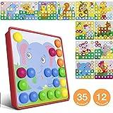 Mosaik Spielzeug, Jooheli Mosaik Steckspiel ab 3 Jahren Kinder, Steckspielzeug Pilz Nagel Puzzle Pegboard mit 35 Steckknöpfe und 12 Bunten Steckplätte Lernen Pädagogische ungen Spielzeug als Geschenke