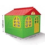Doloni Kinderspielhaus mit Gardinen, aus Kunstoff, 120х129х129 cm (Grün)