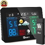 SKEY Wetterstation Funk mit Außensensor und Funkuhr, Farbdisplay Digital Thermometer-Hygrometer für Innen und außen, inkl. Außensensor, Hintergrundbeleuchtung in Farbe