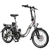 AsVIVA E-Bike Elektro Faltrad B13 mit 36V 15,6Ah Samsung Akku extrem kompakt | 20' Klapprad mit 7 Gang Shimano Kettenschaltung, Bafang Heckmotor, Scheibenbremsen | Elektrofahrrad Silber