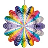 CIM Edelstahl Windspiel - Rainbow Circle - Ø 150 mm - leichtdrehendes Windmobile mit brillanten Farben - inklusive Aufhängung – attraktive Raum- Fenster und Garten-Dekoration
