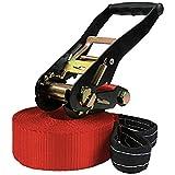 ALPIDEX Slackline 15 m/50 mm (3 Tonnen belastbar), Farbe:rot