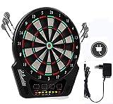 Oppikle Elektronische Dartscheibe - Dart Scheibe E Dartboards Dartautomat mit 6 Dartpfeile - 27 Spielen und 243 Varianten für 16 Spiele (Schwarz-Typ2)