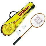 Wilson Badminton-Set, Gear Kit, Unisex, Inkl. 2 Badminton-Schläger, 2 Federbällen aus Kunststoff und 1 Tragetasche, Orange/Gelb, WRT8755003