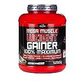 BWG Mega Muscle Weight Gainer 100% Maximum - perfekt für HardGainer und Massephasen – Kraftaufbau - Mega Vanilla - Dose mit Dosierlöffel - (1x 5000g Dose)
