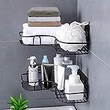 Duschregal,Duschorganisators Aufbewahrung Eckregal mit rostfreiem Edelstahlkleber, Duschwagen für Küchen, Badezimmerregale und Badezimmerzubehör