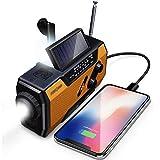 FosPower kurbelradio Notfall Wetter Radio, 2000mAh solar powerbank mit Wiederaufladbare Batterie USB Ladegerät, SOS Alarm mit AM/FM und LED Taschenlampe Radio klein