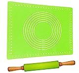 Teigroller mit Backmatte Silikon Groß Grün   Antihaft - BPA frei   Leichtes Ausrollen   Nudelholz 40cm mit Teigmatte 60x40cm