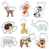 Iindes Wald Tier Ausstecher 9 Stück Set Fondant Ausstechformen für Kinder - Fuchs, Giraffe, Eichhörnchen, Igel, Elch, Sikahirsch, Pferd, Nashorn und Elefant