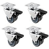 HAUSEE 4 Stücke Lenkrollen 2'/50 mm Doppelrollen Strandkorbrollen mit Bremse Tragkraft von 200kg aus TPR Material (4 Bremse)