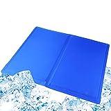Evance Kühlmatte für Hunde Katzen, Kühlmatte für Hund & Katze Hunde Selbstkühlende Matte, Kühlkissen Kühl Hundedecke Kaltgelpad Blau (90 * 50CM/ L)