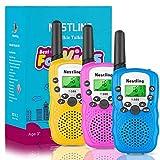 Nestling Walkie Talkie für Kinder 8 Kanäle 4KM Reichweite Funkgerät Set LCD Bildschirm mit Taschenlampe 3 Schlüsselbänder,Walki Talki Spielzeuge(3er Set)