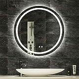 LUVODI Runder Badspiegel für Badzimmer, 60cm Badezimmerspiegel mit Beleuchtung, Kaltweiß Warmweiß LED Wandspiegel mit Touchschalter und Spiegelheizung, Wasserdicht IP44