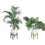 Awnic Blumentopfständer Metall Pflanzen Ständer Blumentopf Hoch Innen Übertopf mit Gestell Gold ENTHÄLT KEINEN BLUMENTOPF 34.5X34.5X30cm