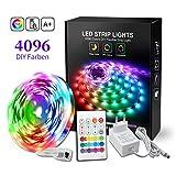 BASON RGB LED Strip, 5m Led Streifen mit 4096 Farben-DIY Flexible LED Leiste, SMD 5050 LED Stripes, LED Band mit Fernbedienung, Farbwechsel für Küche Regalbeleuchtung Weihnachten Zimmer Dekor.