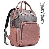 Upsimples Baby Wickelrucksack Wickeltasche,Multifunktional Große Kapazität Babytasche Reisetasche,mit USB-Ladeanschluss für Mama und Papa(Pink & Grau)