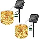 Solar lichterkette aussen,2 Stück 120 LED gartenbeleuchtung solar wetterfest 12M/40Ft 8 Modus Solarlichterkette Deko für Garten, Balkon, Terrasse, Tor, Hof, Hochzeit, Party (Warmweiß)