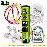 KNIXS - 100 Knicklichter, seit 10 Jahren in Profiqualität   100 3D-Verbinder   2 extra Ballverbinder, 6 Farben Mix   deutsche Testnote: 1,4