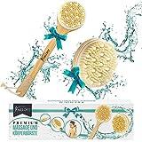 Premium Badebürste mit Naturborsten [2ER SET] - Rücken Massagebürste für Dusche & Badewanne - Anti-Cellulite und gegen Trockene Haut - Trocken- & Nass- Bürste - Körperbürsten Set - Trockenbürste