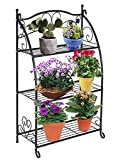 DOEWORKS 3 Etagen Metall Pflanzenständer Blumentreppen Blumentopf Gartenregal Lagerregal Topfhalter für Indoor Outdoor, Schwarz