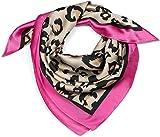 styleBREAKER Damen Dreieckstuch mit Leo Animal Muster Kontrast Rand, Multifunktions Tuch, Halstuch, Kopftuch, Bandana 01016195, Farbe:Pink