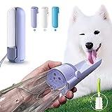 Wasserflasche für Hunde 420ml, 180° Faltbar Tragbare Trinkflasche Haustier mit Reinigungsbürste, BPA-Frei Auslaufsicher Katzen Hunde Flasche, Hundetrinkflasche für Unterwegs und Wandern (Lila)