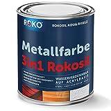 Metallfarbe ROKOSIL - 0,7 Kg in Pastellgrau - Seidenmatt - 3in1 Grundierung, Rostschutz & Deckfarbe - Langlebig & Robust - Premium Metalllack für viele Metalle - Metallschutzlack, Metall-Lack
