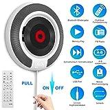 Tragbarer CD Player mit Bluetooth - Wandmontierbarer CD-Musik-Player Home Audio Boombox mit Fernbedienung FM-Radio Integrierte HiFi-Lautsprecher, MP3-Kopfhöreranschluss AUX-Eingang …