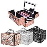 GOPLUS Kosmetikkoffer, Beauty Case, Schminkkoffer, Make up Box, Friseurkoffer, Kosmetikkoffer Reise, Multikoffer, Etagenkoffer, Werkzeugkoffer für Make-up (Schwarz)