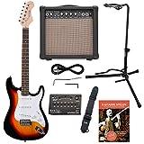 Rocktile Sphere Classic Sunburst E-Gitarre Set (E-Gitarre in ST-Design mit 3 Tonabnehmer und Tremolo, inklusive Verstärker, Ständer, Stimmgerät, Gurt und Gitarrenkabel) Sunburst