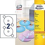 AVERY Zweckform L7676-25 selbstklebende CD-Etiketten (50 blickdichte CD-Aufkleber, Ø 117mm auf A4, SuperSize, Papier matt, bedruckbare Klebeetiketten für alle A4-Drucker) 25 Blatt, weiß