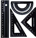 Metall Architekten-Skala Lineal Set - Rodmaie 4 PCS Technisches Zeichnungsset, Mathematik Geometrie Werkzeug, Winkelmesser, Dreieck, Architekten Lineal Set für Schüler