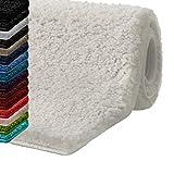 casa pura Badematte Hochflor Sky Soft   Weicher, Flauschiger Badezimmerteppich in Shaggy-Optik   Badvorleger rutschfest waschbar   schadstoffgeprüft   16 Farben in 6 Größen (50x80 cm, Creme/Ivory)