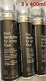 Vorratsangebot! 3 Jumbo-Dosen Hairfor2 Haarverdichtungsspray 400ml (Mittelbraun)