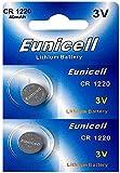Eunicell 2 x CR1220 3V Lithium Knopfzelle (1 Blistercard a 2 Batterie) EINWEG Markenware