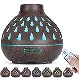 Aroma diffusor (500 ml), Ultraschall befeuchter, Ätherische Öle Diffusor mit LED-Beleuchtung und wasserlose automatische Abschaltung für Büro/Schlafzimmer/Yoga-Raum (dunkelbraun)