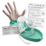 Lunata Laien CPR Erste Hilfe Maske MIT Sauerstoffanschluss, Notfallbeatmungsmaske, Notfallmaske, Beatmungsmaske mit Zubehör und Ersthelfer-Anleitung