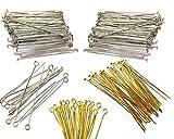 600 Kettelstifte Nietstifte 40mm x 0,7mm Versilbert Kopfstifte und mit öse Perlenstifte Gold Silber Prismenstifte