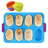 KeepingcooX® Mini-Baguette-Backblech, 34 x 24 cm, Antihaft-Lochblech | Brot Crisping Tray, Laib Backform, French-Bread mit köstlichen knusprigen Krusten, mit 4 Rosenformen, Blau