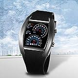 Deportes RPM Azul y Blanco Flash LED Car Speed Meter Dial Hombres Regalo Reloj