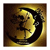 Schlummerlicht Leuchtsterne Nachtlicht Led Lampe personalisiert'Schaukel Fee auf Mond' Geschenke zur Geburt Feen Geschenk mit Name Geburtsdaten persönlich Mädchen