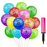 ZHENA 50 Stk Luftballons Geburtstag Happy Birthday Bunt Latex Ballons 12 Zoll mit Ballonpumpe für Geburtstag Party(Farbe zuverlässig)