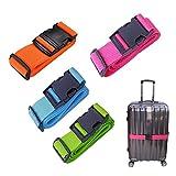 4 Stück Koffergurt Travel, kofferbänder Set auffällig, Gepäckgurt Einstellbare Kofferband Koffer Gepäckgurte zum Sicheren Verschließen Kreuz Sicherheitsgurt