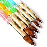 5 Stück Runde Zobelsteine Acryl Design Nagelkunst UV Gel DIY Pinsel Stift Nail Art Werkzeug Set Nr. 2/4/6/8/10